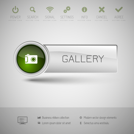 at button: Gray vector button with green area for icons and symbols. Modern design elements.