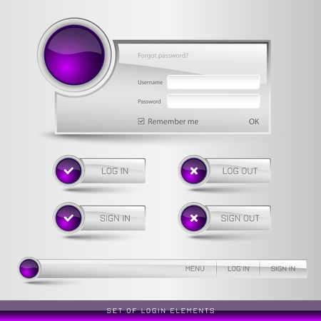 sign in: Set of member login template with buttons. Username and  password form. Vector design elements.