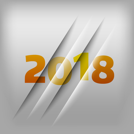 Simple gray background with orange numbers 2018. New Year Design. Illustration