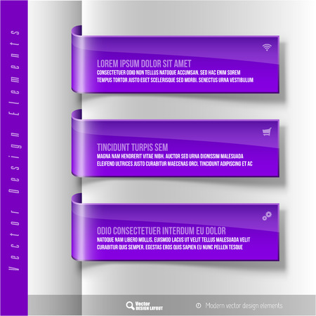 purple ribbon: Vector design elements. Three purple ribbon on the gray sheet. Color banners.