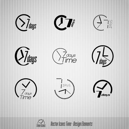 days: Vector time icons. 7 days symbols. Design elements.