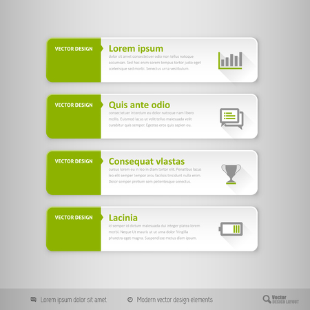 design template: Design elements for infographics, layout, web pages. Modern symbols on the elegant tabs. Illustration