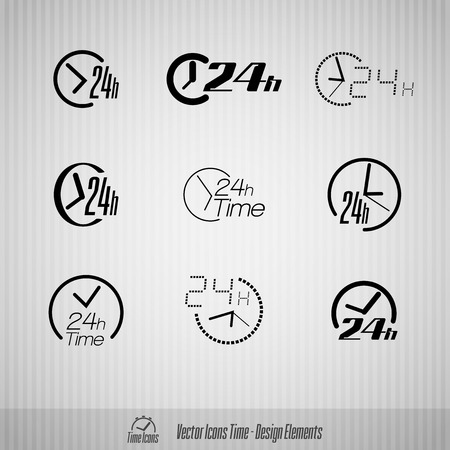 24 hours: Vector time icons. 24 hours symbols. Design elements.