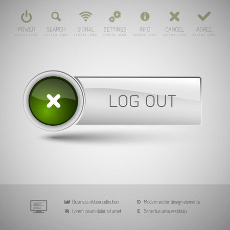 log off: Gray vector button with green area for icons and symbols. Modern design elements.