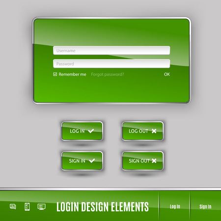 log in: Set of member login template with buttons. Username and  password form. Vector design elements.