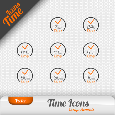 every: Vector time icons isolated on the gray background. Design elements. Illustration