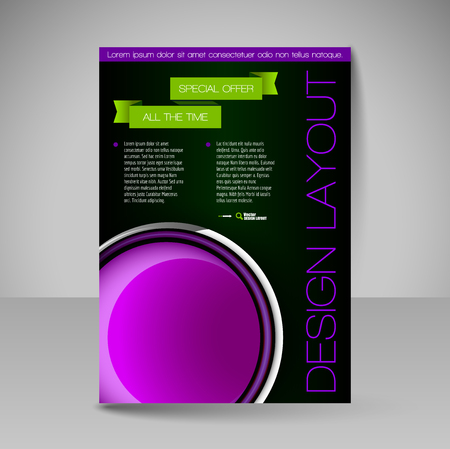 book design: Template for brochure or flyer. Editable site for business, education, presentation, website, magazine cover.