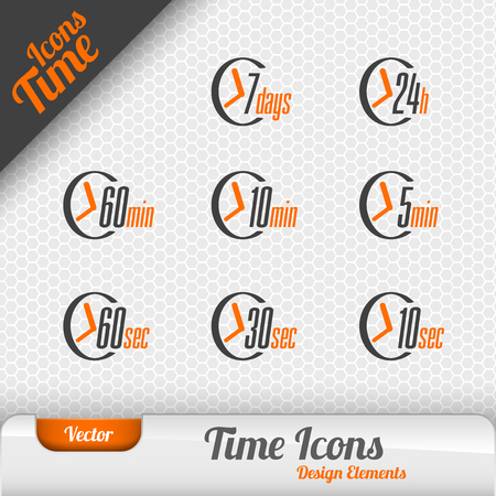 h: Vector time icons isolated on the gray background. Design elements. Illustration