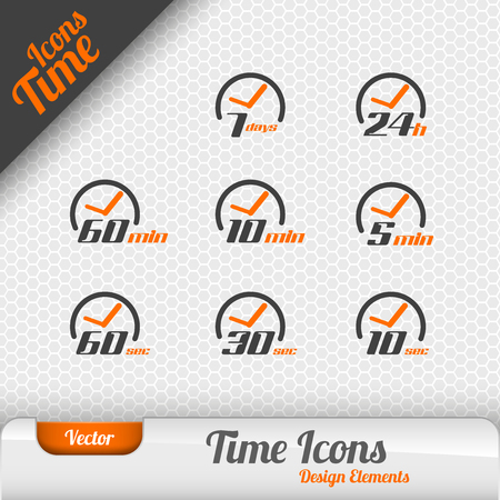 sign h: Vector time icons isolated on the gray background. Design elements. Illustration