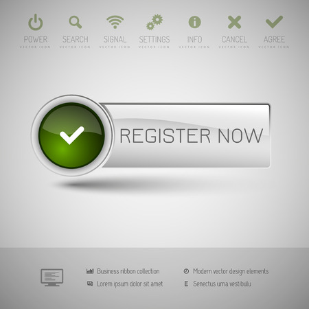 register button: Gray vector button with green area for icons and symbols. Modern design elements.