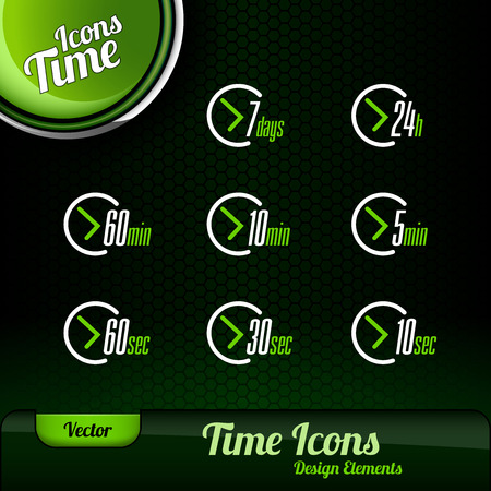open day: Vector time icons. Dark green background with green button. Design elements. Illustration
