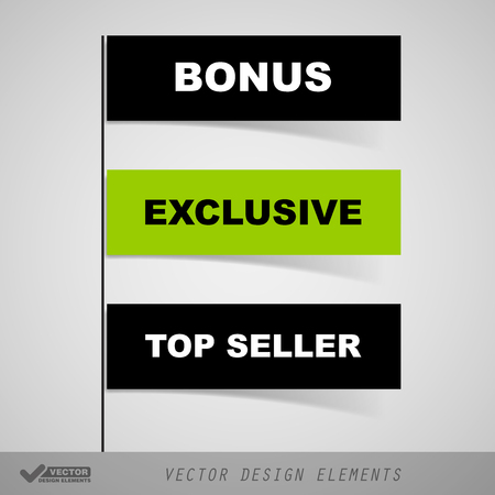 design vector: Business stickers as simple flags, banners, ribbons. Vector design elements.