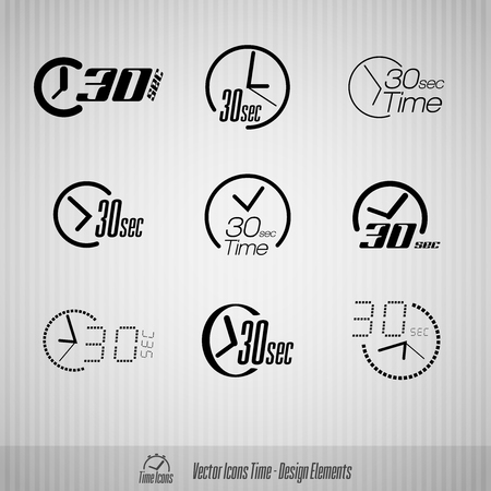 seconds: Vector time icons. 30 seconds symbols. Design elements.