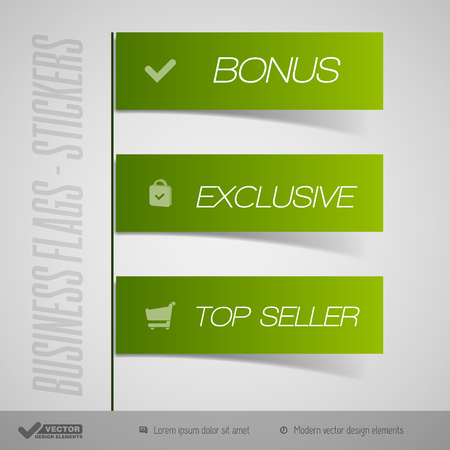 large store: Business stickers as simple flags, banners, ribbons. Vector design elements.