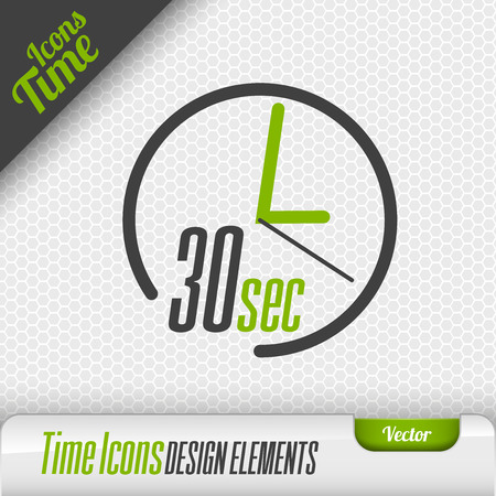 seconds: Time icon on the gray background. 30 seconds symbol. Vector design elements. Illustration
