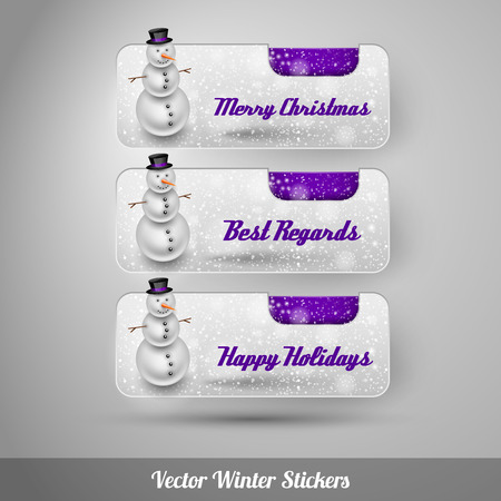 falling snow: Winter stickers with snowman and falling snow. Purple vector design elements without text.