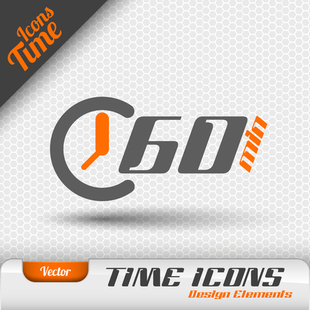stop icon: Time icon on the gray background. 60 minutes symbol. Vector design elements. Illustration