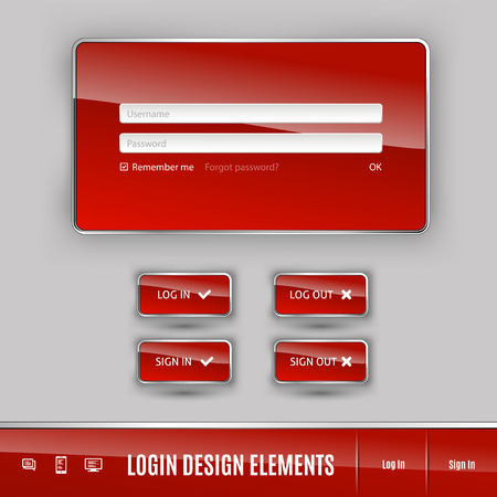 login button: Set of member login template with buttons. Username and  password form. Vector design elements.