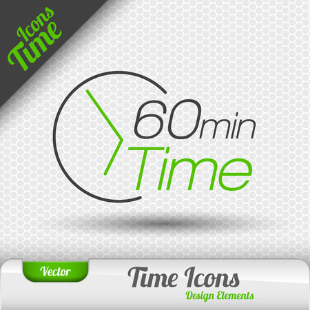 60: Time icon on the gray background. 60 minutes symbol. Vector design elements. Illustration