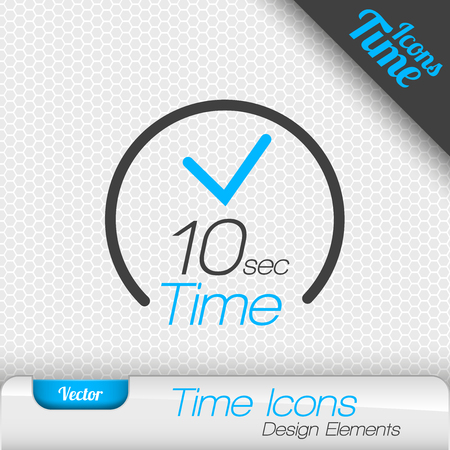 number 10: Time icon on the gray background. 10 seconds symbol. Vector design elements. Illustration