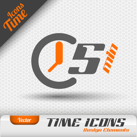 Time icon on the gray background. 5 minutes symbol. Vector design elements. Illustration