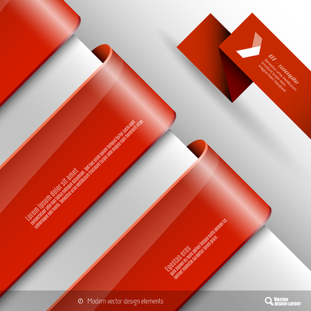 titles: Vector design elements. Three banners on the gray sheet. Illustration