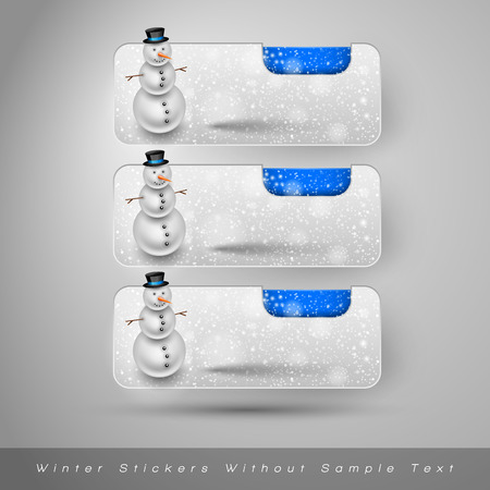 falling snow: Winter stickers with snowman and falling snow. Blue vector design elements without text.