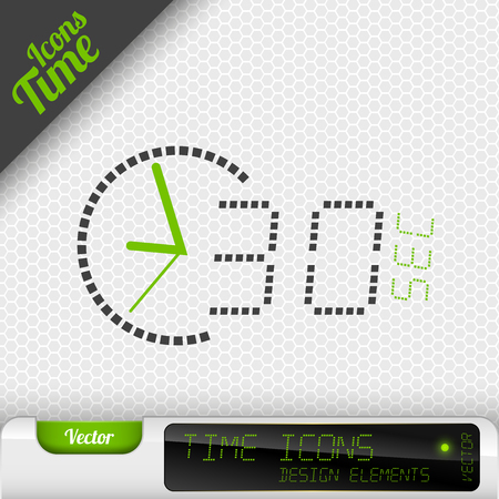 second: Time icon on the gray background. 30 seconds symbol. Vector design elements. Illustration