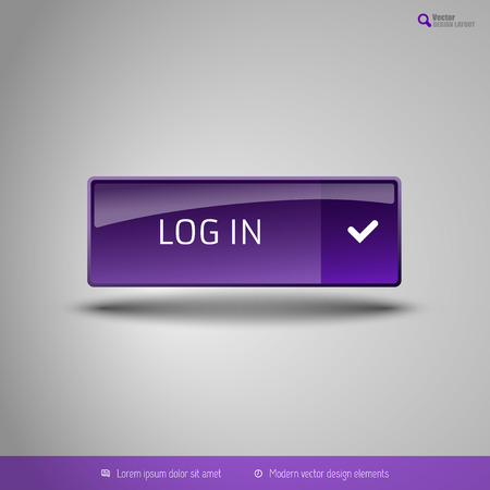 color registration: Simple button on the neutral gray background with icons. Vector design elements. Special purple edition.
