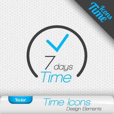 days: Time icon. 7 days symbol. Vector design elements. Illustration