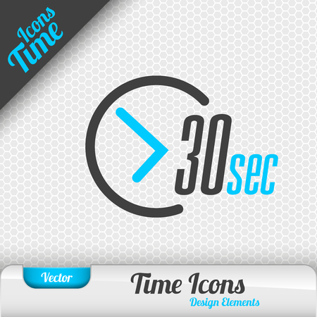 Time icon on the gray background. 30 seconds symbol. Vector design elements. 向量圖像