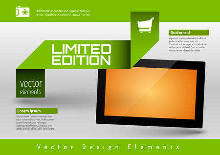 graphic presentation: Business banner with modern display. Vector design elements for presentations, flyers, brochures, websites.