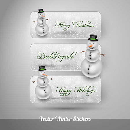 falling snow: Winter stickers with snowman and falling snow. Green vector design elements without text. Illustration