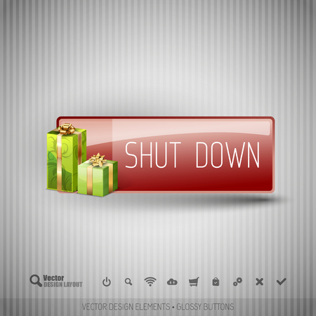 shut down: Glossy button with gifts. Winter christmas special collection. Vector design elements.