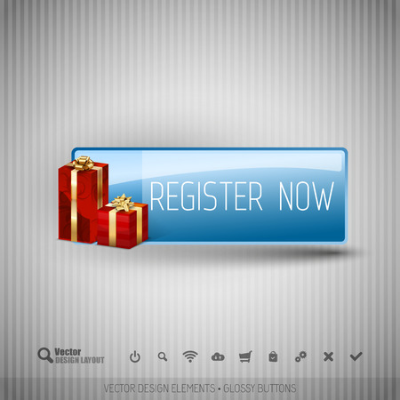 color registration: Glossy button with gifts. Winter christmas special collection. Vector design elements.