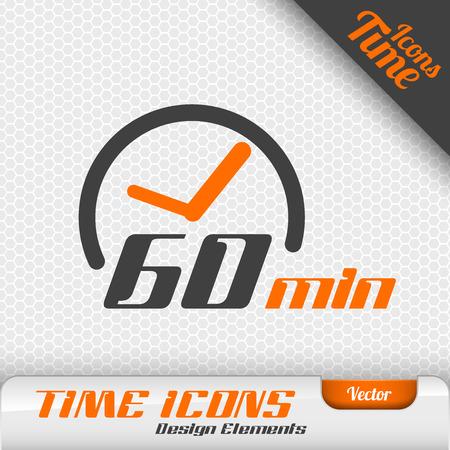 sencillez: icono de tiempo en el fondo gris. 60 minutos símbolo. Vector elementos de diseño. Vectores