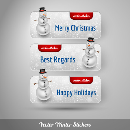 falling snow: Winter stickers with snowman and falling snow. Red vector design elements without text.