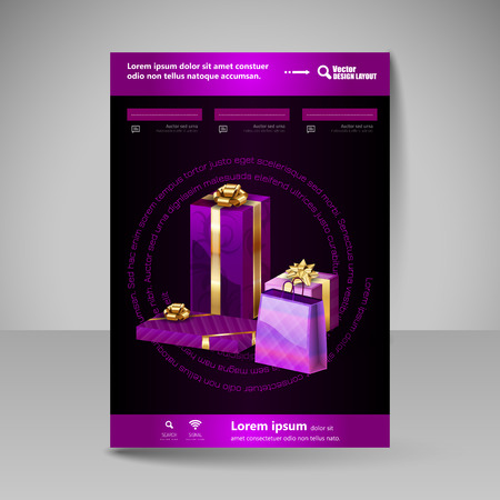 purple background: Business flyer template with purple Christmas gifts. Vector design elements. Illustration