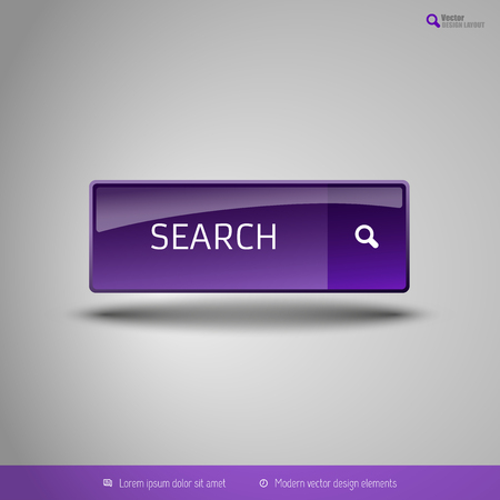 bar tool set: Simple button on the neutral gray background with icons. Vector design elements. Special purple edition.