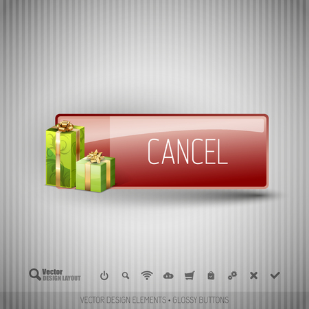 cancel: Glossy button with gifts. Winter christmas special collection. Vector design elements.