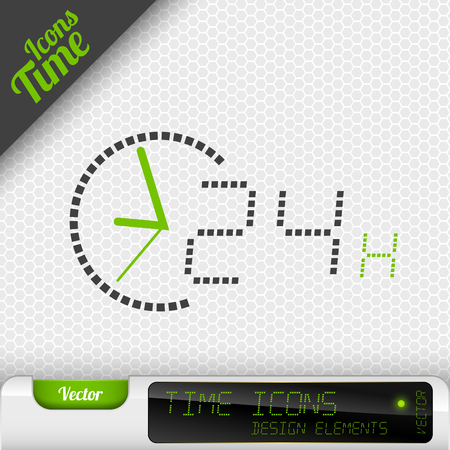 24 hours: Time icon on the gray background. 24 hours symbol. Vector design elements.