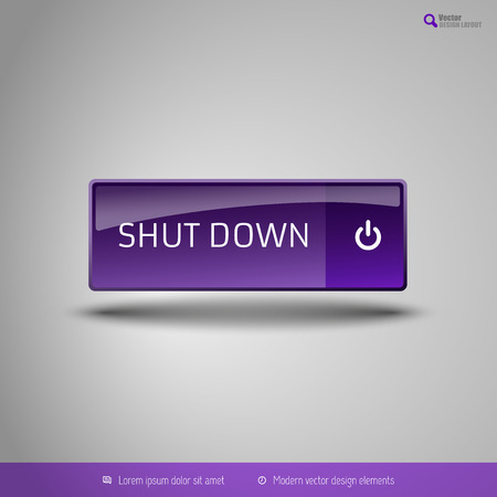 shutdown: Simple button on the neutral gray background with icons. Vector design elements. Special purple edition.