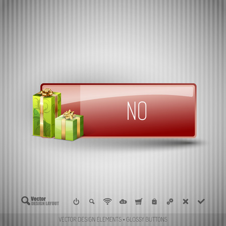 dissent: Glossy button with gifts. Winter christmas special collection. Vector design elements.