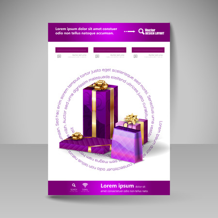 christmas cover: Business flyer template with purple Christmas gifts. Vector design elements. Illustration