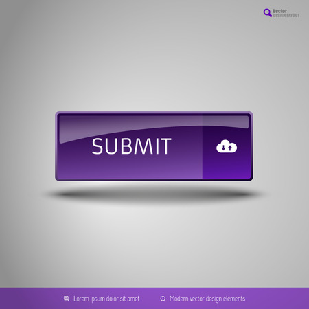 administer: Simple button on the neutral gray background with icons. Vector design elements. Special purple edition.