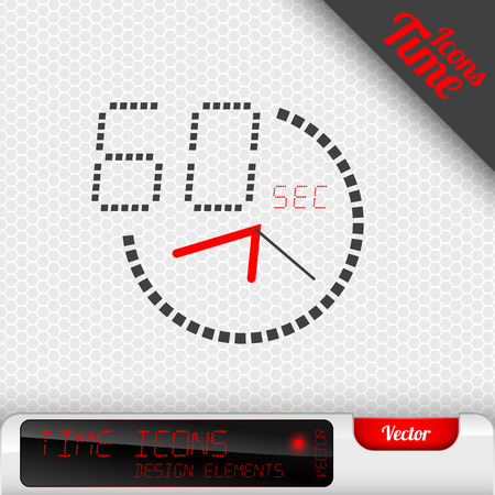 Time icon on the gray background. 60 seconds symbol. Vector design elements.
