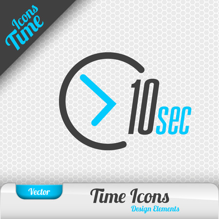 seconds: Time icon on the gray background. 10 seconds symbol. Vector design elements. Illustration