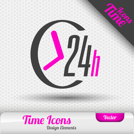 24 hour: Time icon on the gray background. 24 hours symbol. Vector design elements.