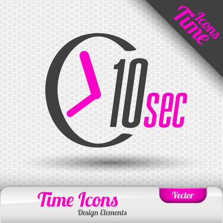 second: Time icon on the gray background. 10 seconds symbol. Vector design elements. Illustration