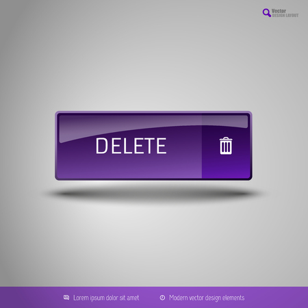 abort: Simple button on the neutral gray background with icons. Vector design elements. Special purple edition.